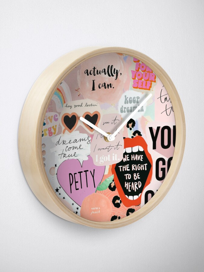 Alternate view of Pink Collage Clock