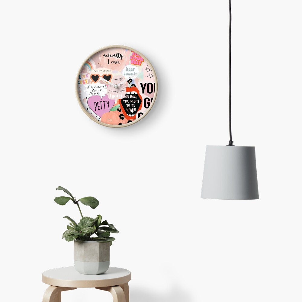 Pink Collage Clock