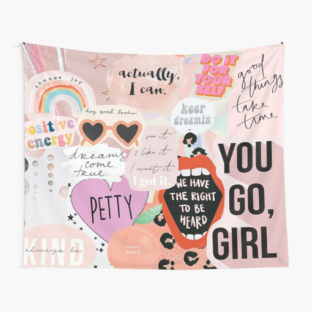 Pink Collage Wall Tapestry
