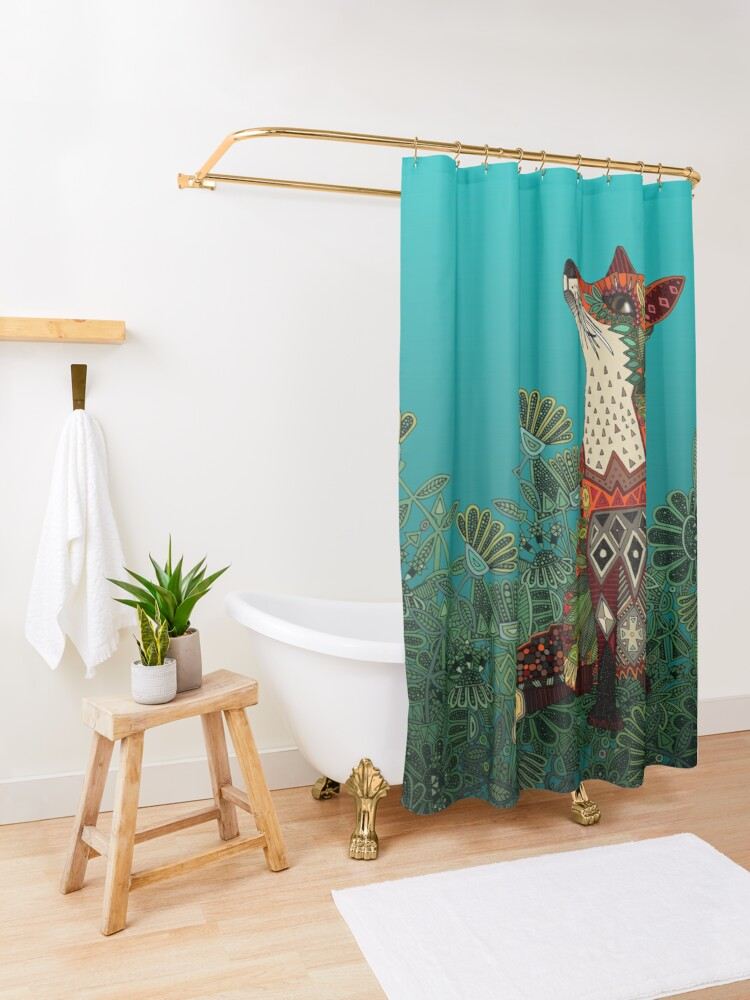 Alternate view of floral fox Shower Curtain