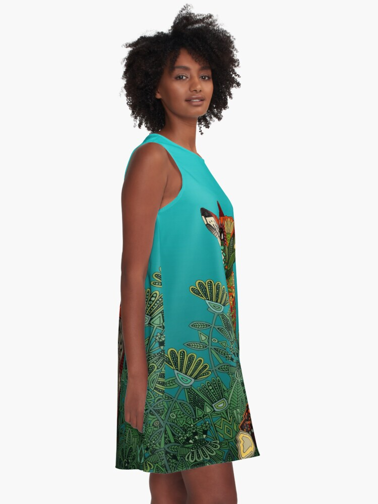 Alternate view of floral fox A-Line Dress