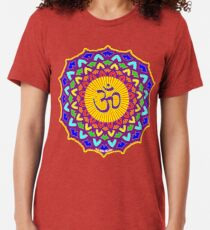 7th Chakra Mandala Yoga Om Tri-blend T-Shirt