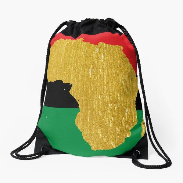 Gold African Symbol of Africa - Golden Pan African Flag Drawstring Bag