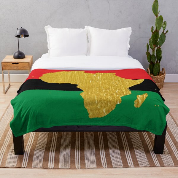 Gold African Symbol of Africa - Golden Pan African Flag Throw Blanket