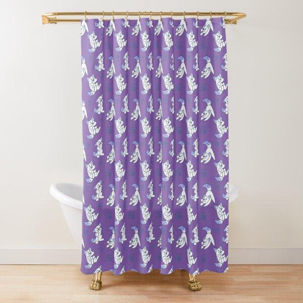 Scribble Kibble Puppy Pattern - Purple Shower Curtain