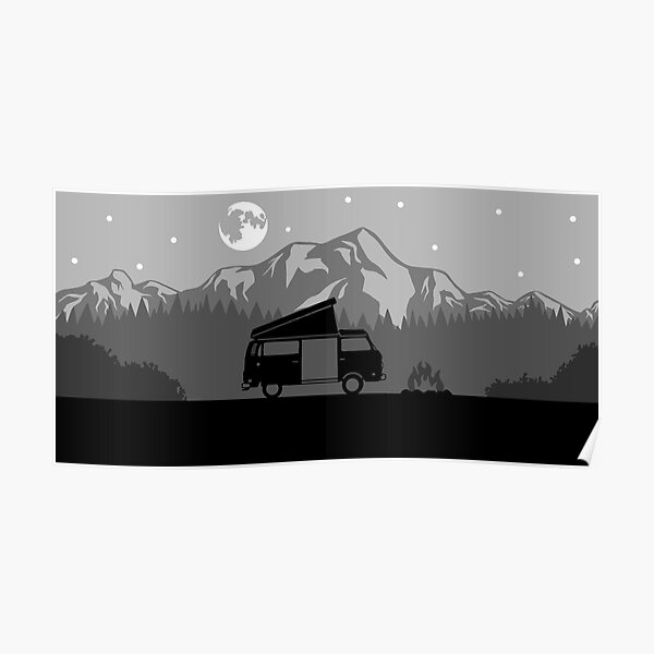 Westy Camping (Black) Poster