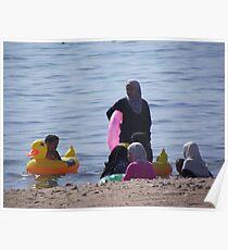 Muslim Women, Jordan Beach in Aqaba Poster