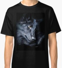 """""""The Look Back"""" Timber Wolf Portrait Classic T-Shirt"""