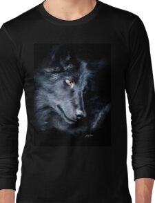 """""""The Look Back"""" Timber Wolf Portrait Long Sleeve T-Shirt"""