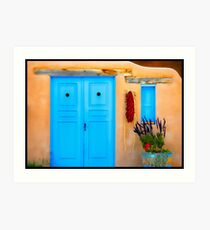 Blue Adobe Doors & Ristras Art Print