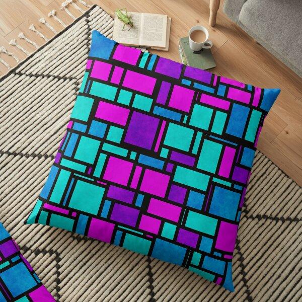 Jewel Tone Mondrian Floor Pillow