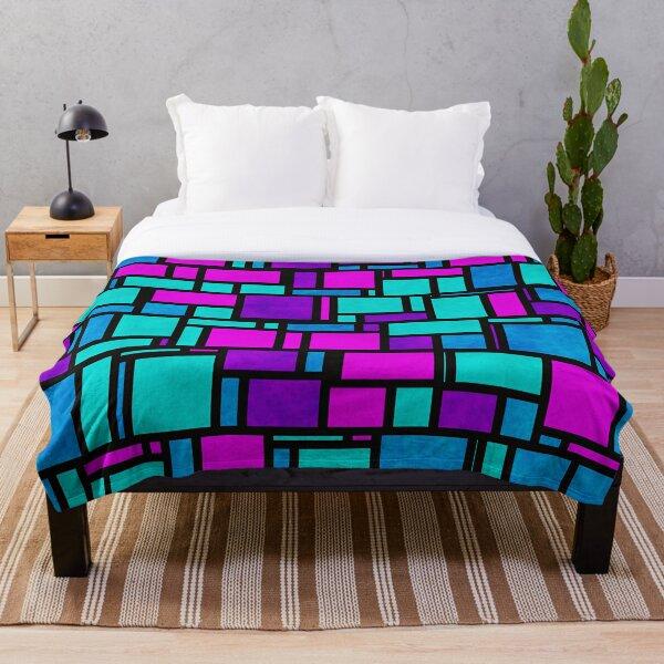 Jewel Tone Mondrian Throw Blanket
