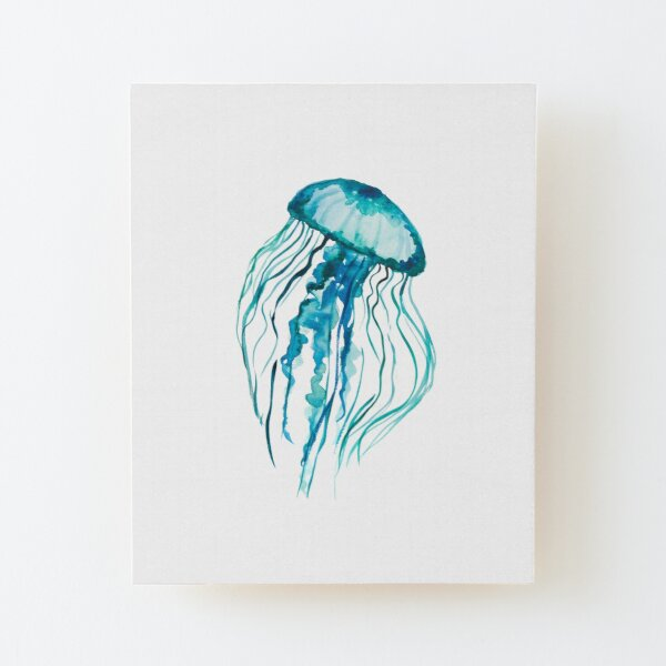 Watercolor Jellyfish Wood Mounted Print
