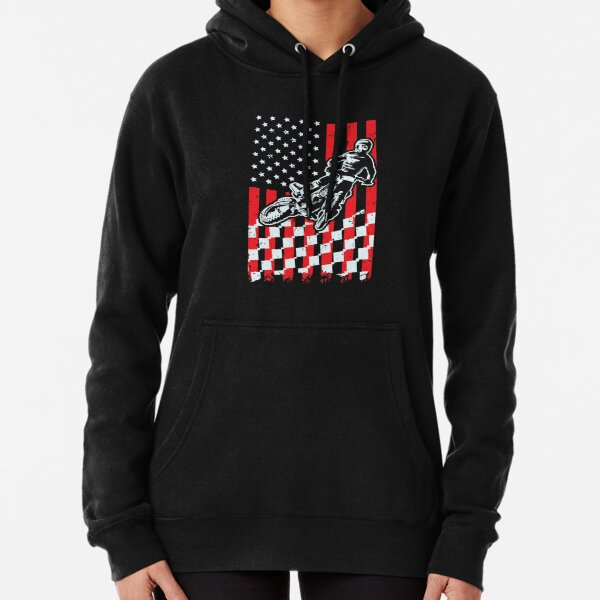 Motocross Checkered American Flag Pullover Hoodie