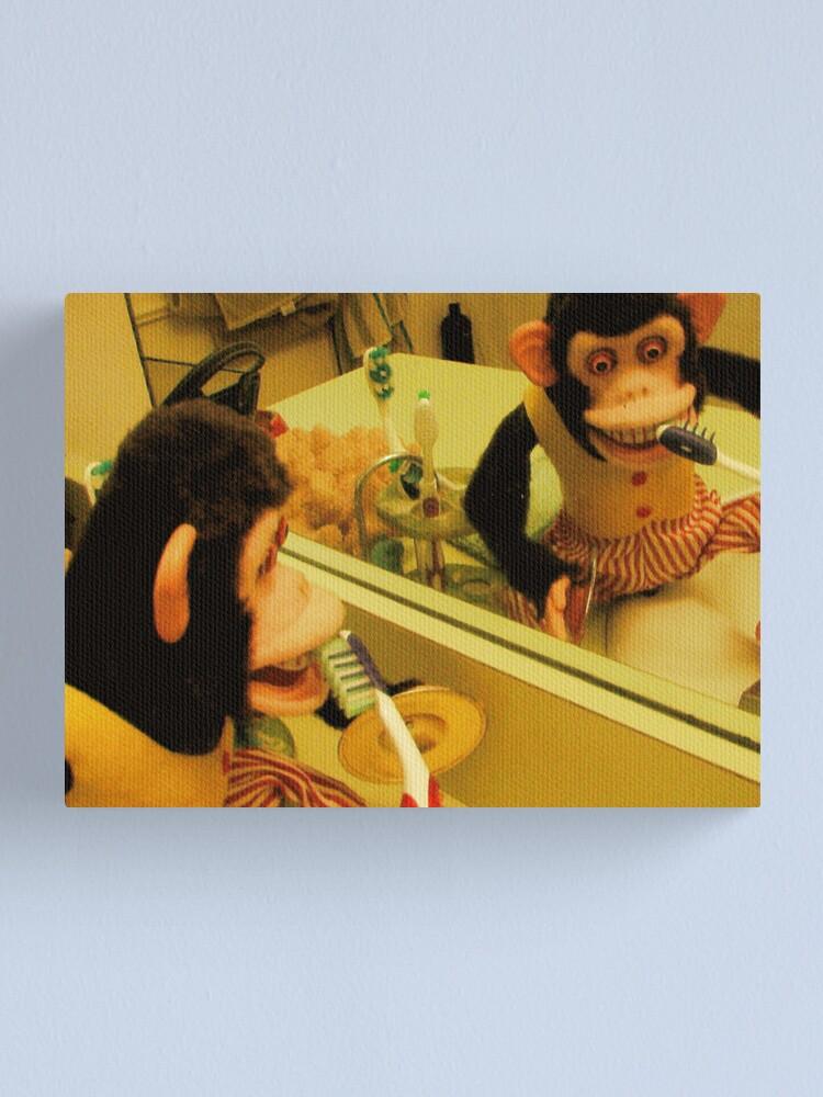 CANVAS Chimpanzee Brushing His Teeth Art print POSTER