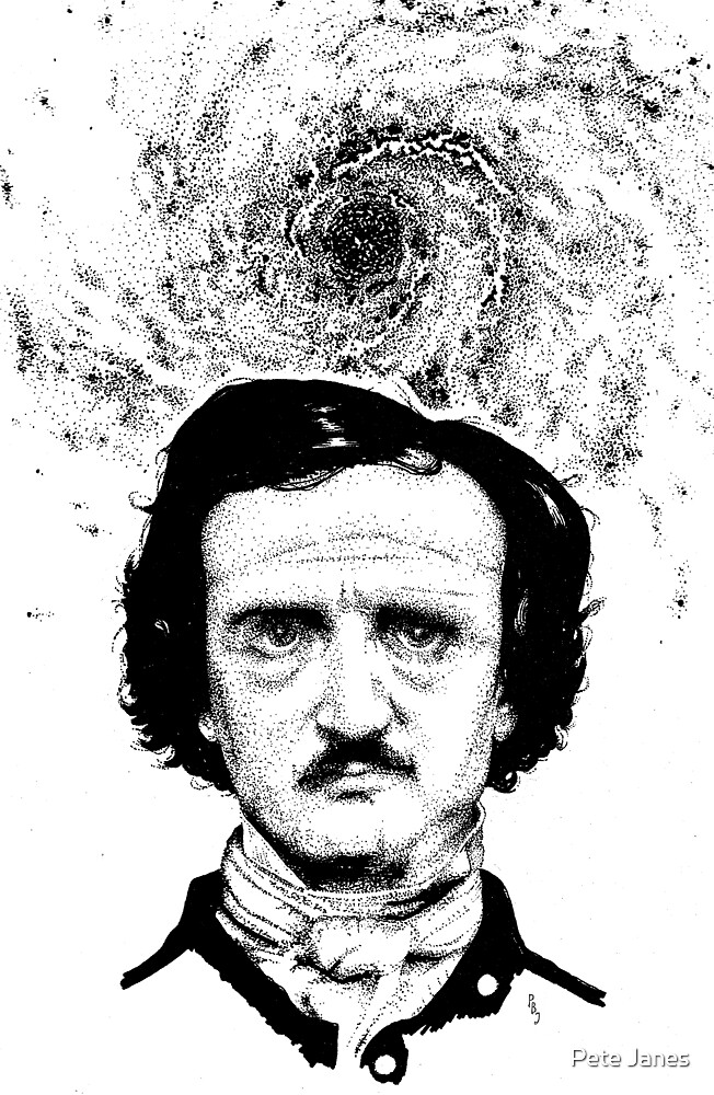 Poe Portrait original inks by Pete Janes