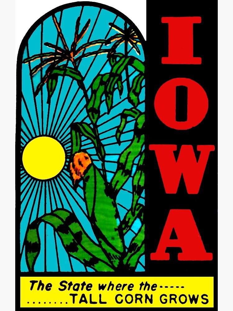Iowa IA State Tall Corn Vintage Travel Decal by hilda74