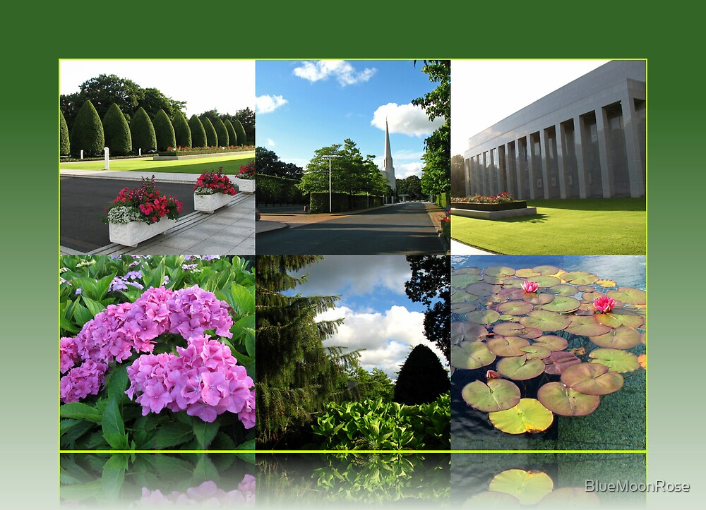 Preston Temple Grounds in August Collage von BlueMoonRose