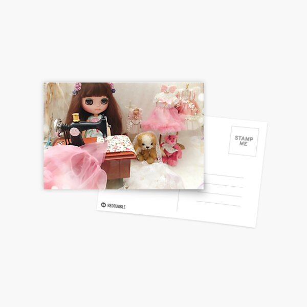 Belle and Puchi Blythe doll and pet dog by Jenny Lee Postcard