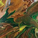Crouching Dragon: fluid acrylic pour painting; fantasy painting; mythical creature by kerravonsen