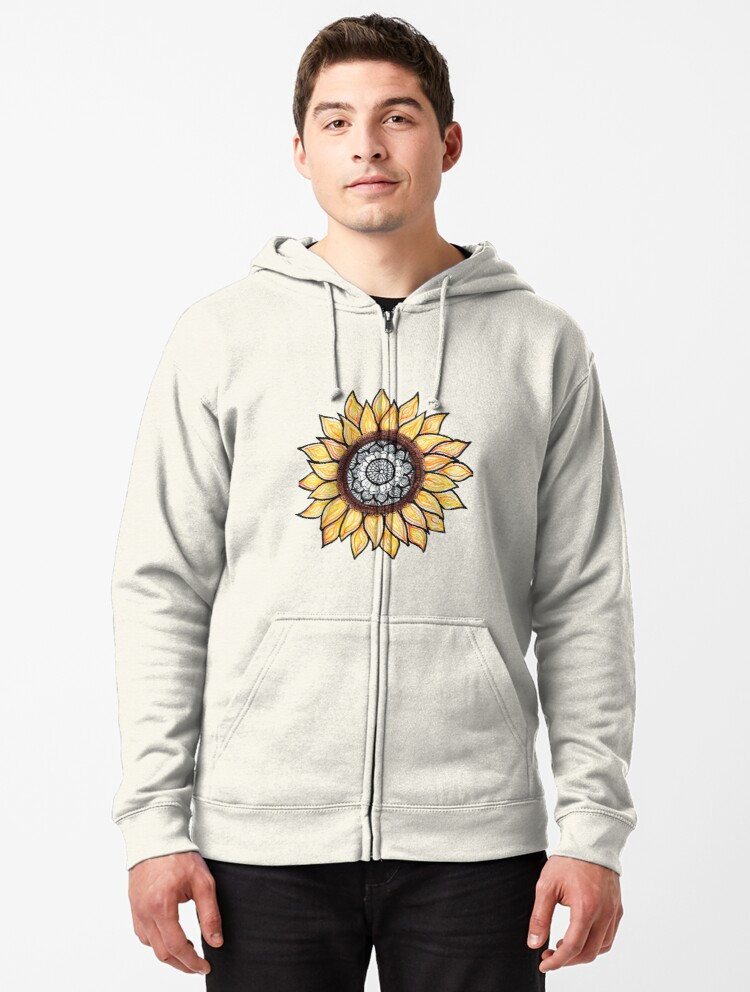 Sunflowers A Golden Sunset Mens Full-Zip Hooded Fleece Sweatshirt