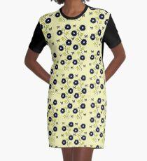 Art Nouveau - Blue on Yellow Graphic T-Shirt Dress