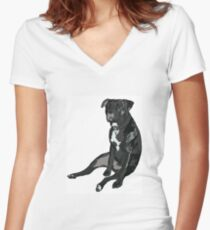SittingPitty Women's Fitted V-Neck T-Shirt