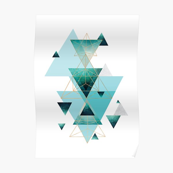 Geometric Triangle Compilation in teal, aqua and rose gold Poster