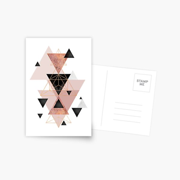 Geometric Triangles in blush and rose gold Postcard
