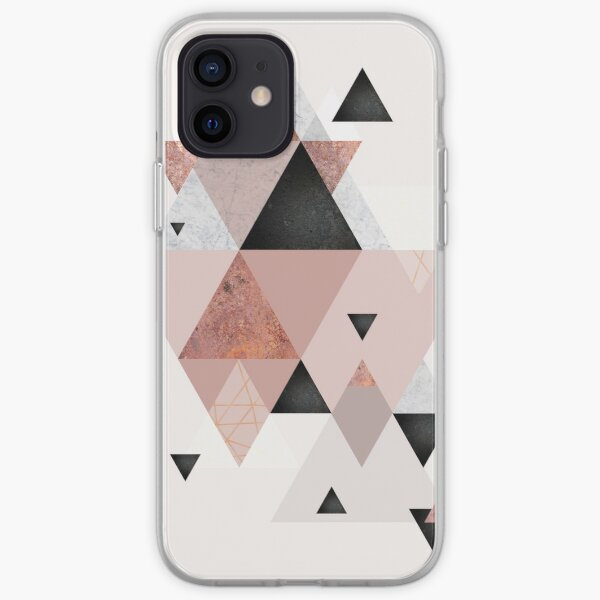 Geometric Compilation in Rose Gold and Blush Pink iPhone Soft Case