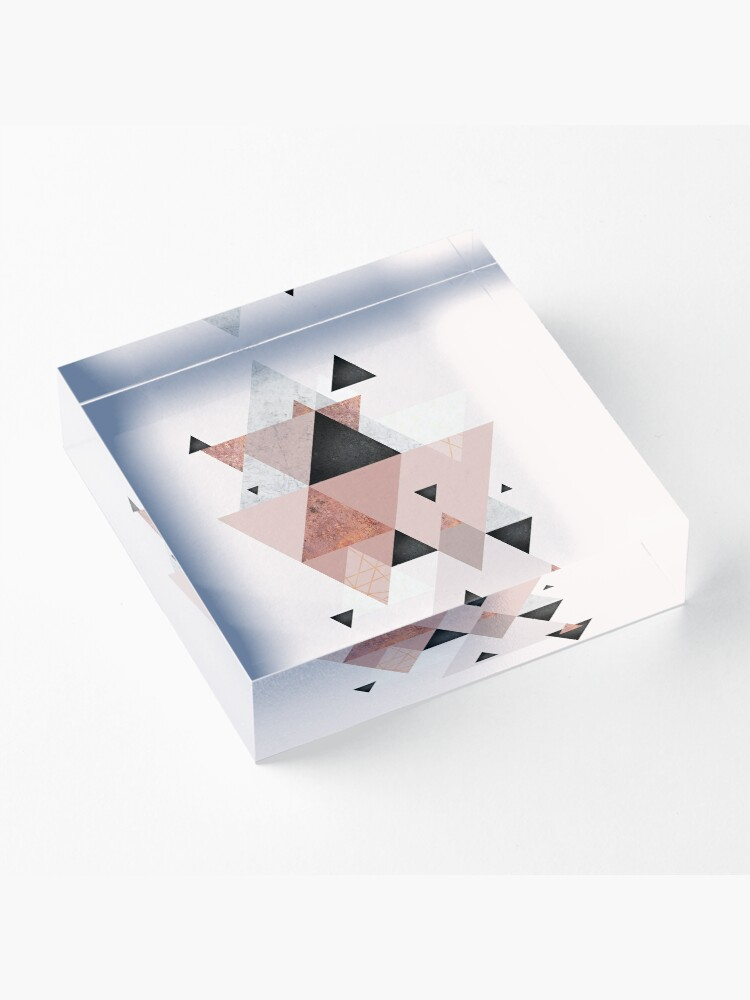 Alternate view of Geometric Compilation in Rose Gold and Blush Pink Acrylic Block