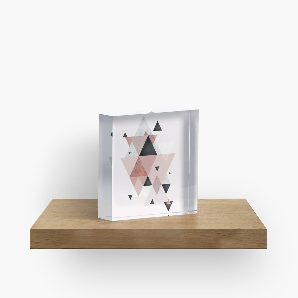 Geometric Compilation in Rose Gold and Blush Pink Acrylic Block