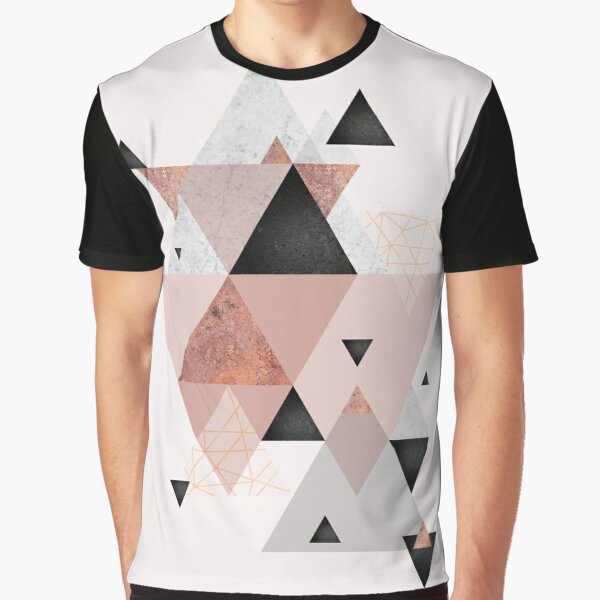 Geometric Compilation in Rose Gold and Blush Pink Graphic T-Shirt