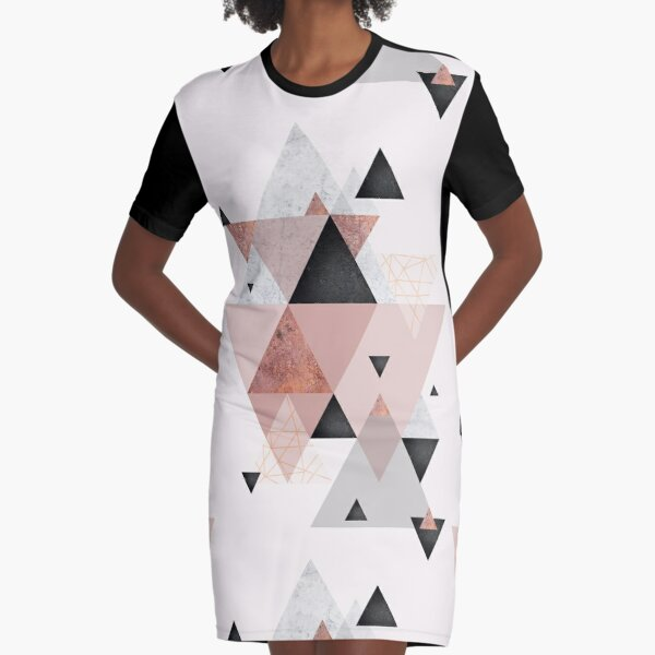 Geometric Compilation in Rose Gold and Blush Pink Graphic T-Shirt Dress
