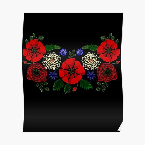 Cute Floral Ukraine Vintage Ukrainian Vyshyvanka Style Poster