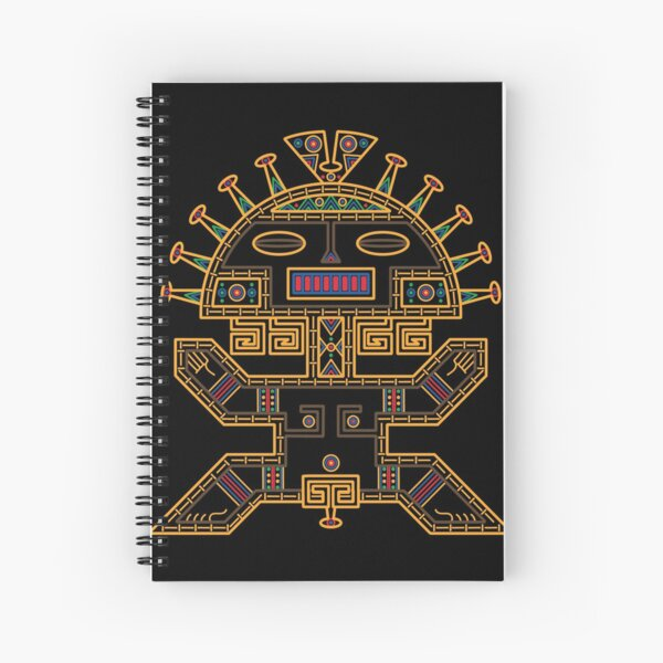 MUISCA CHIBCHA COLOMBIA MAN MASK IDOL - linework Spiral Notebook