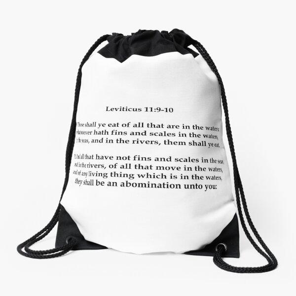 Ye Shall Not Eat Shellfish (Black Text) Drawstring Bag