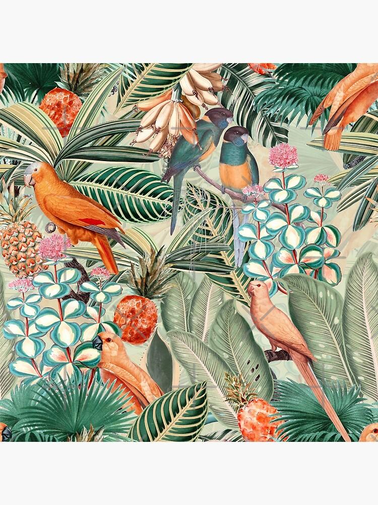 Vintage Orange Tropical Bird Jungle Garden by UtArt