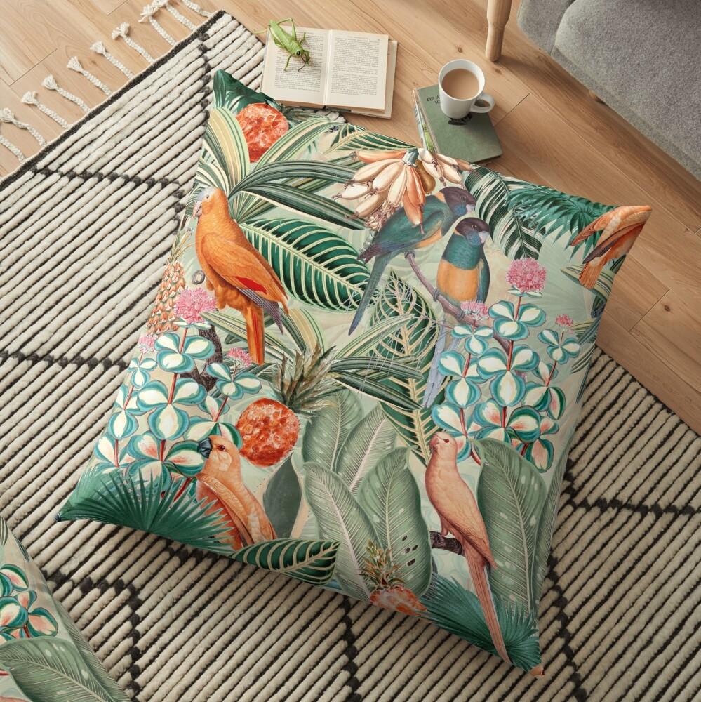 Vintage Orange Tropical Bird Jungle Garden Floor Pillow