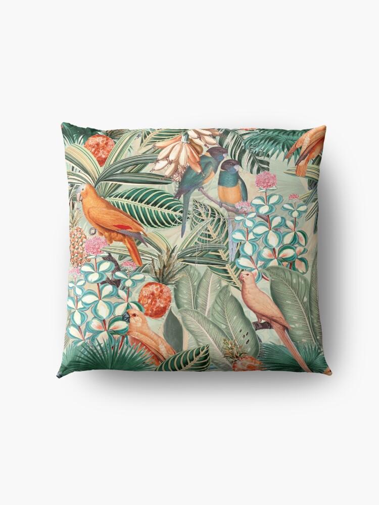 Alternate view of Vintage Orange Tropical Bird Jungle Garden Floor Pillow