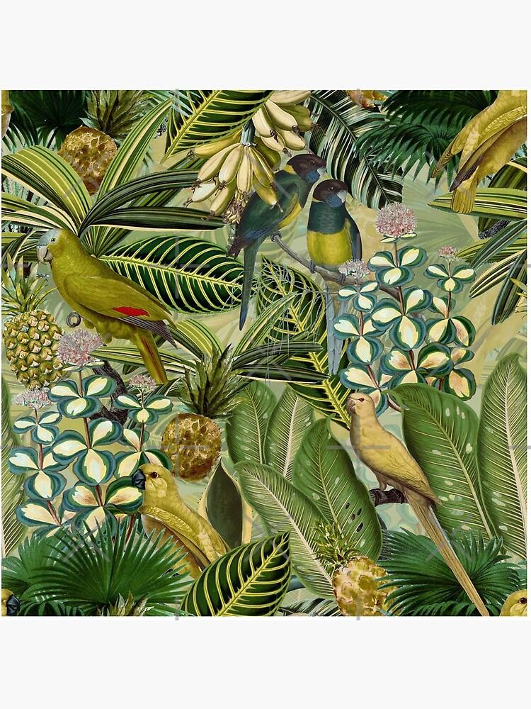 Vintage Green Tropical Bird Jungle Garden by UtArt