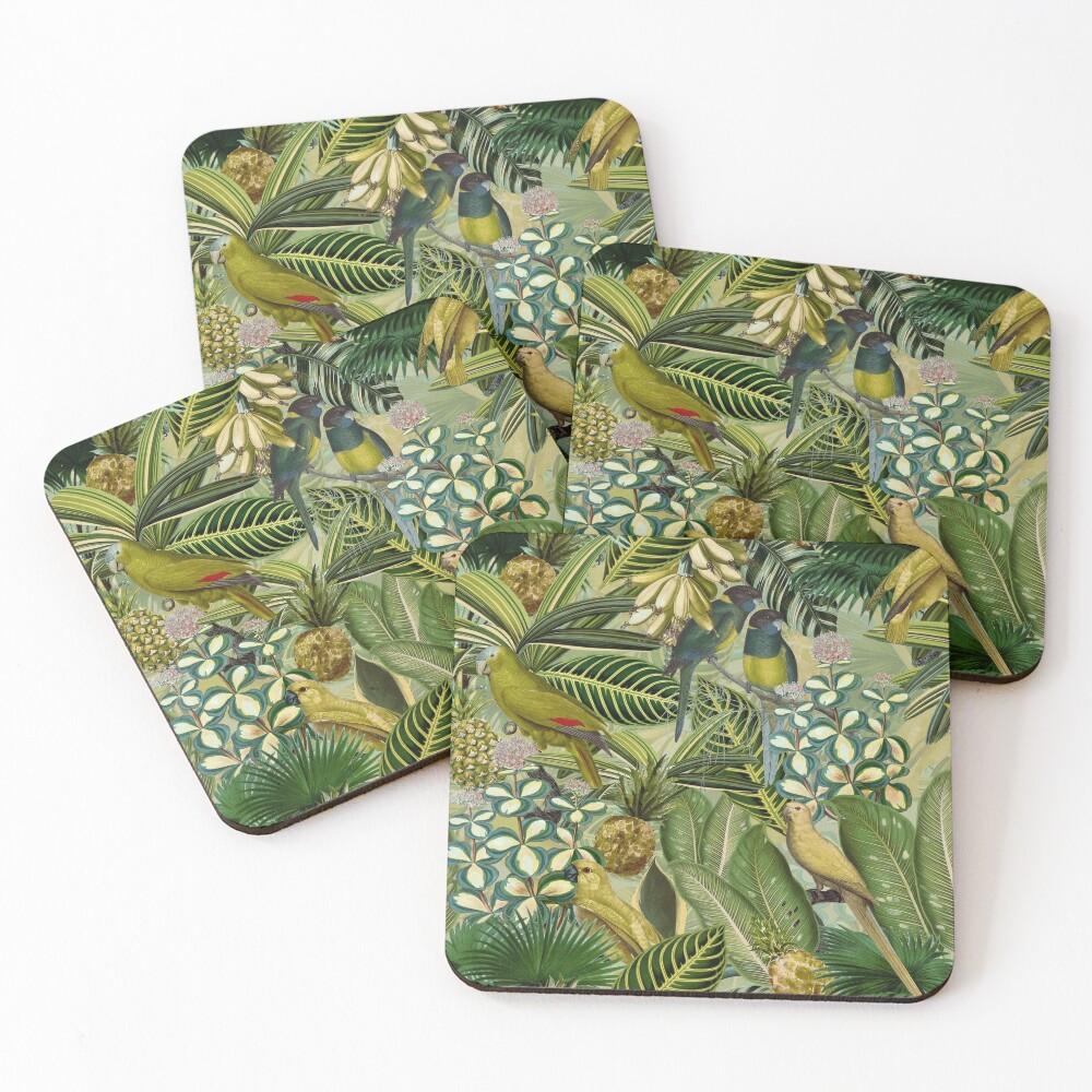 Vintage Green Tropical Bird Jungle Garden Coasters (Set of 4)