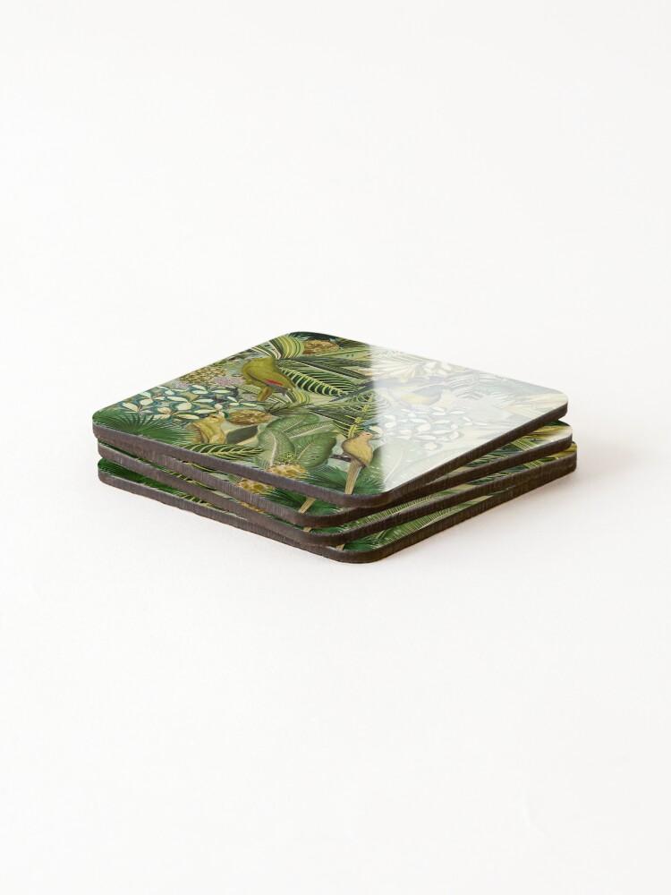 Alternate view of Vintage Green Tropical Bird Jungle Garden Coasters (Set of 4)