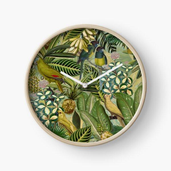 Vintage Green Tropical Bird Jungle Garden Clock