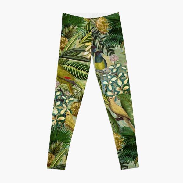 Vintage Green Tropical Bird Jungle Garden Leggings