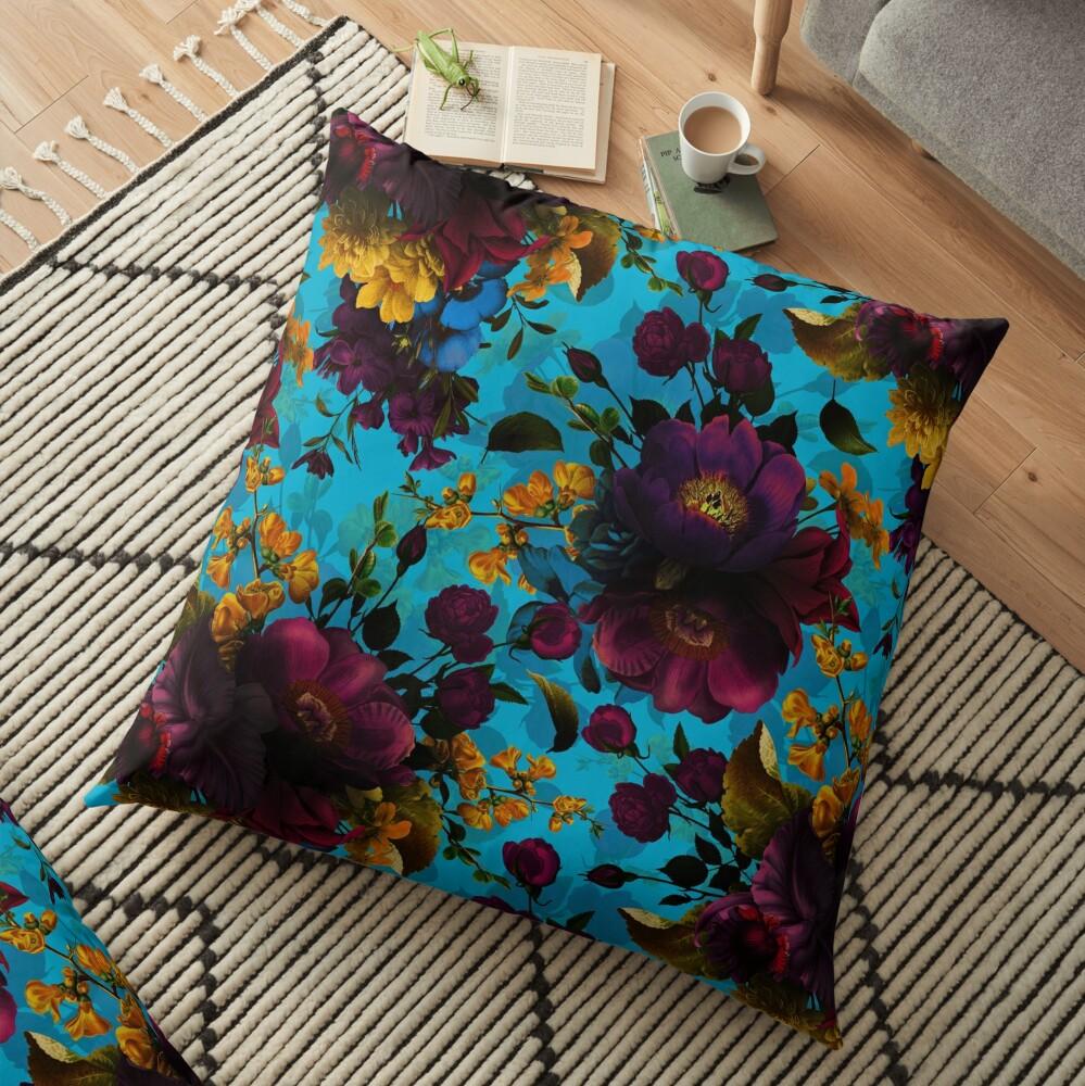 Moody florals - Mystic Night 13 Floor Pillow