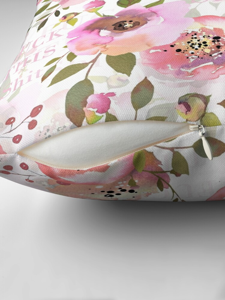 Alternate view of Fuck this shit - pink floral  Floor Pillow