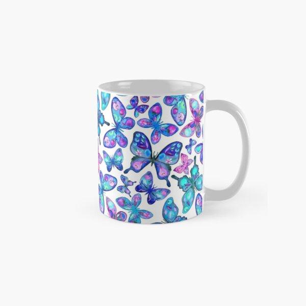 Watercolor Fruit Patterned Butterflies - aqua and sapphire Classic Mug