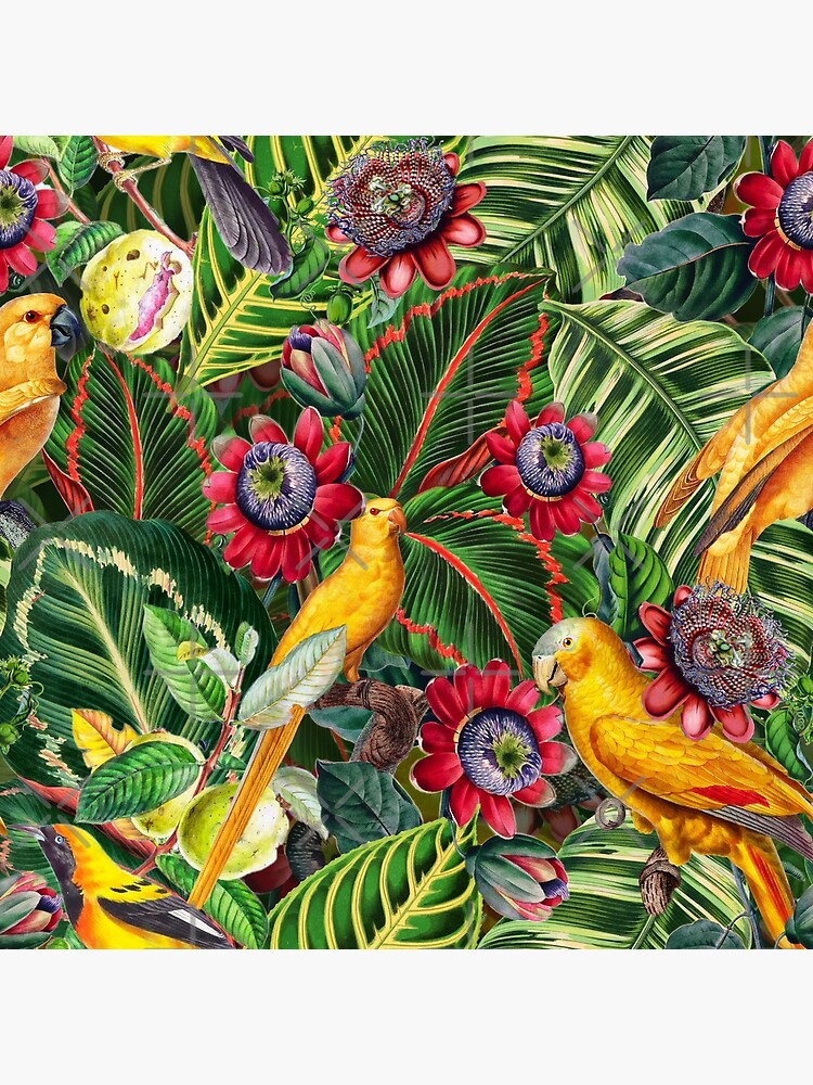Vintage Tropical Bird Jungle Garden  by UtArt