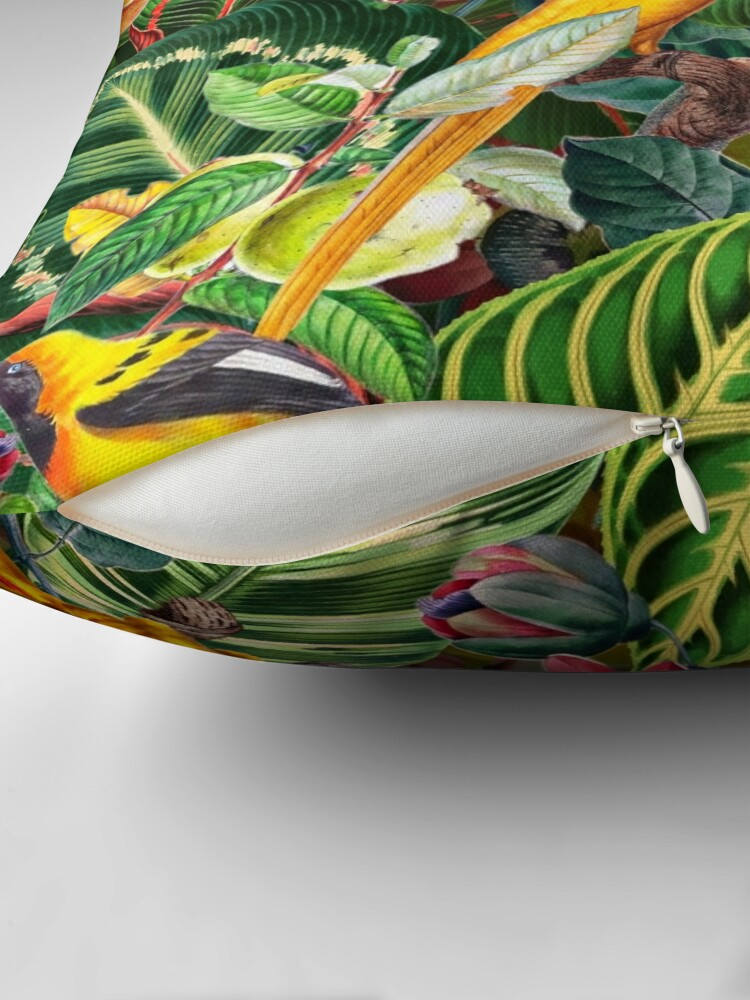 Alternate view of Vintage Tropical Bird Jungle Garden  Throw Pillow